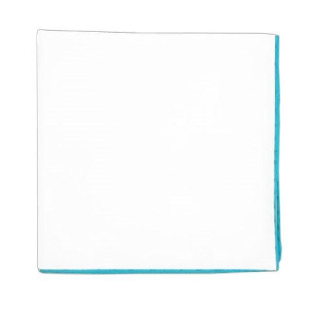 White Cotton With Border Aqua Pocket Square