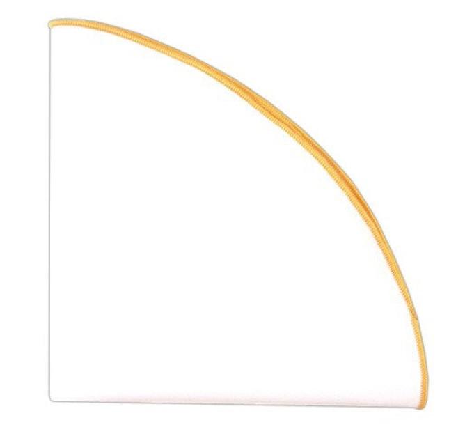 White Cotton Round With Border Yellow Gold Pocket Square