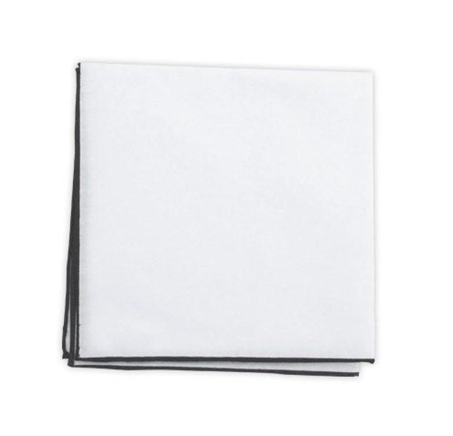White Cotton With Border Dark Charcoal Pocket Square
