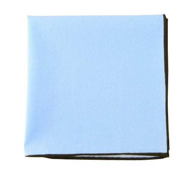 Solid Color Cotton With Border Baby Blue Pocket Square