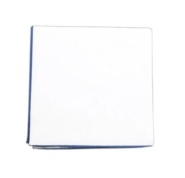 White Cotton With Border Light Blue Pocket Square