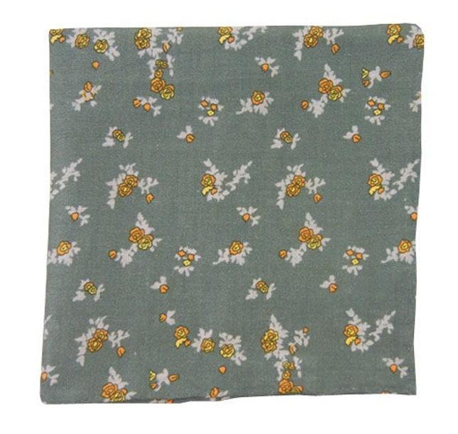Linen Flowers Slate Blue Pocket Square