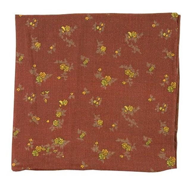 Linen Flowers Burgundy Pocket Square