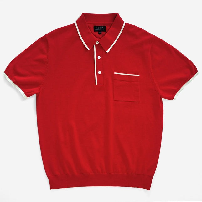 Tipped Cotton Sweater Tomato Red Polo