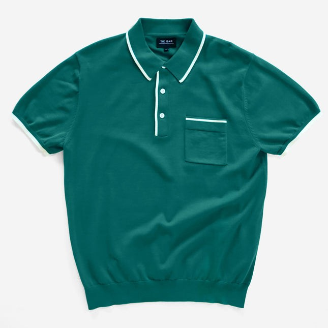 Tipped Cotton Sweater Teal Polo