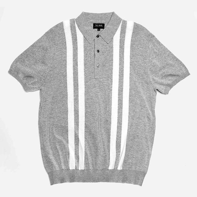 Vertical Stripe Cotton Sweater Grey Polo
