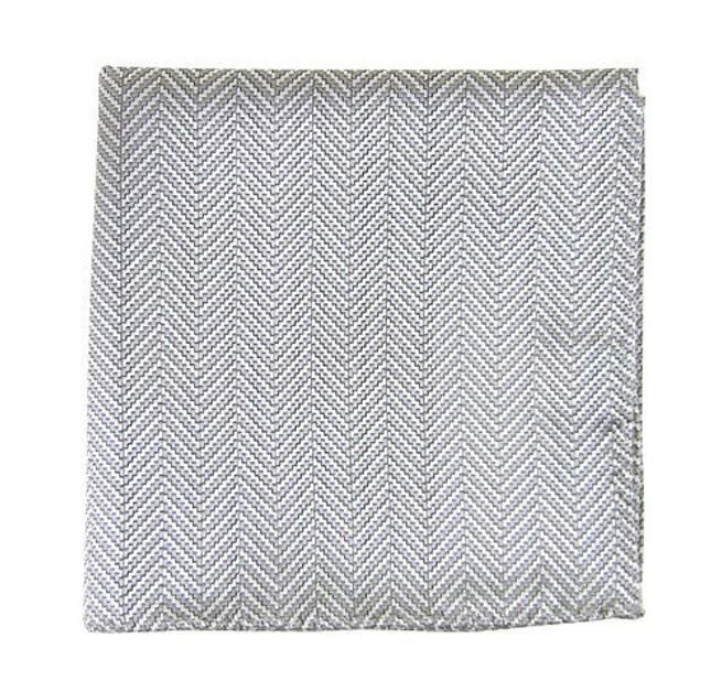 Native Herringbone Silver Pocket Square