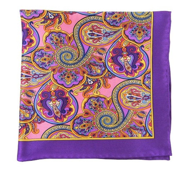 Bolstered Paisley Wisteria Pocket Square