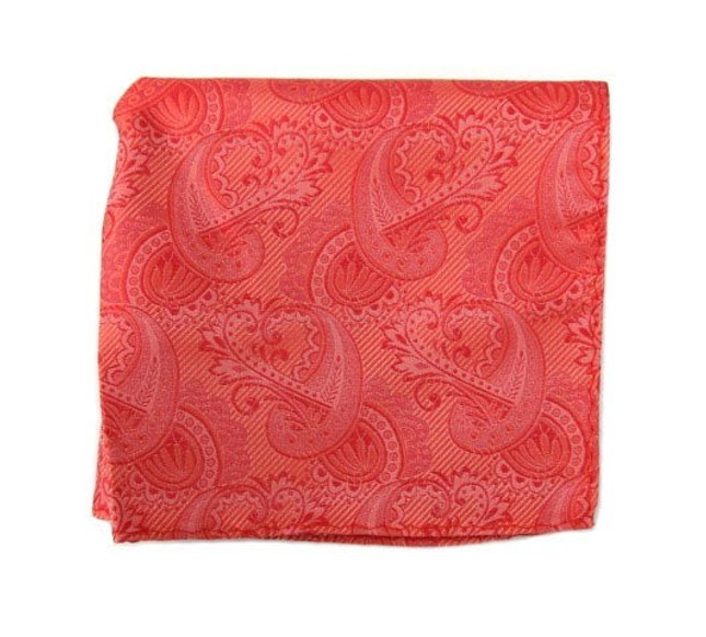 Twill Paisley Coral Pocket Square