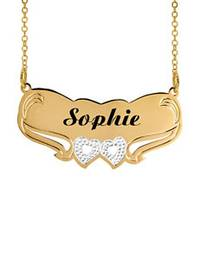 38e8e3bf3cb2b Jay Aimee Double Heart Laser Engraved Personalized Nameplate Necklace