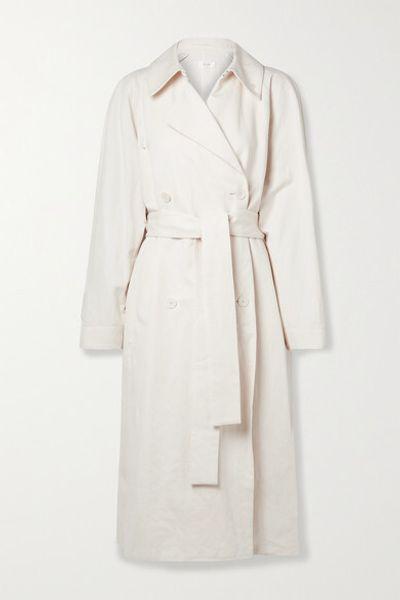 Oswin Oversized Cotton And Linen-blend Gabardine Trench Coat - Cream