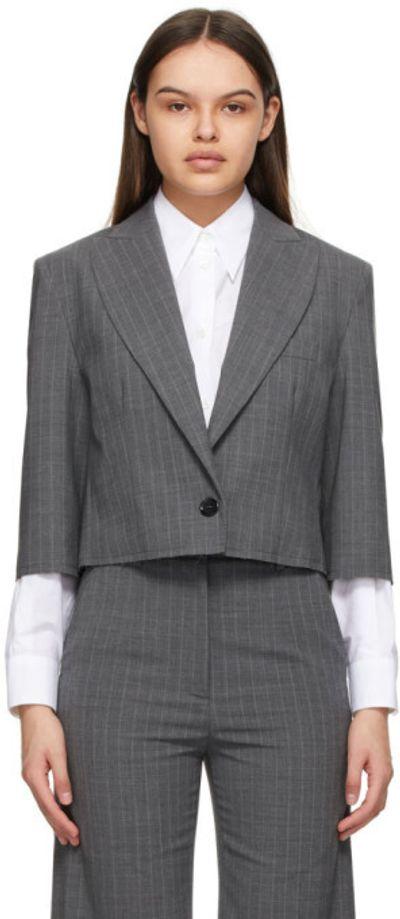 Grey Pinstripe Crop Blazer