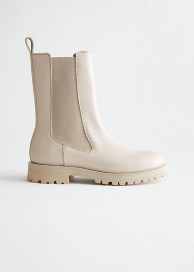 Chunky Sole Leather Chelsea Boots