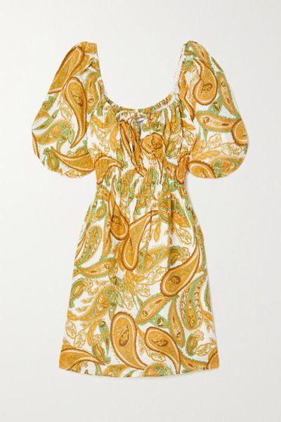 + Net Sustain Nikoleta Paisley-print Linen Mini Dress - Mustard