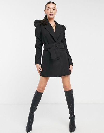 puff sleeve blazer dress with belt in black