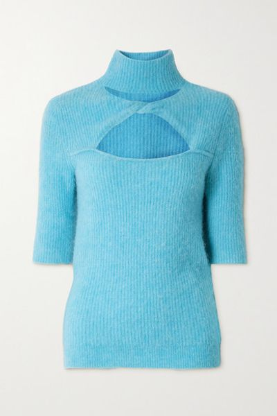 Cutout Twist-front Ribbed-knit Sweater - Sky blue