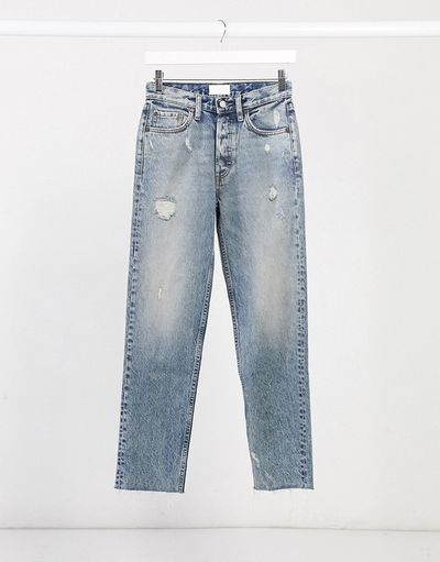Tommy distressed straight leg jeans in mid blue acid wash