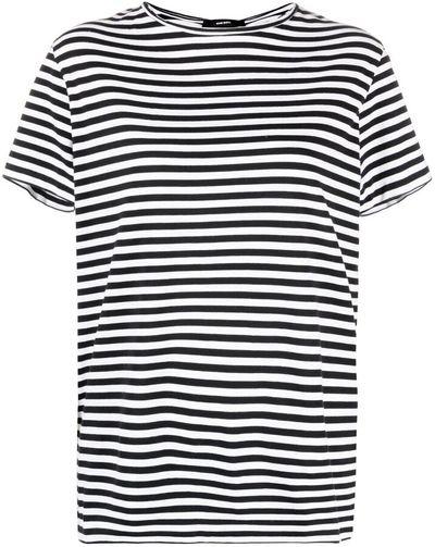 cutout-detail striped T-shirt