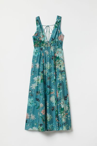 Lyocell-blend V-neck dress