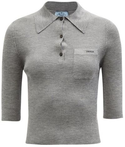 Logo-embroidered Rib-knitted Wool Polo Shirt - Grey