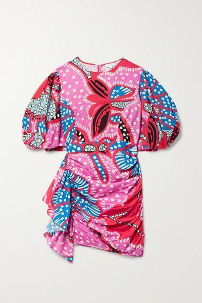 Pia Draped Printed Cotton Mini Dress - Pink