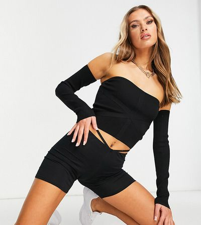 ASYOU knitted bandeau top with sleeves in black