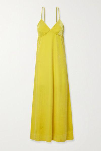 Stretch-velvet Maxi Dress - Chartreuse