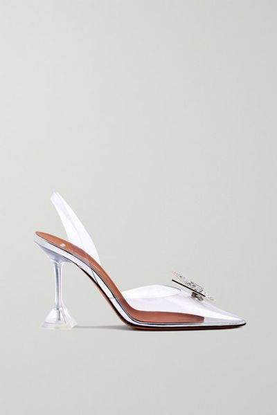 + Awge Phoenix Crystal-embellished Bow-detailed Pvc Slingback Pumps - Clear