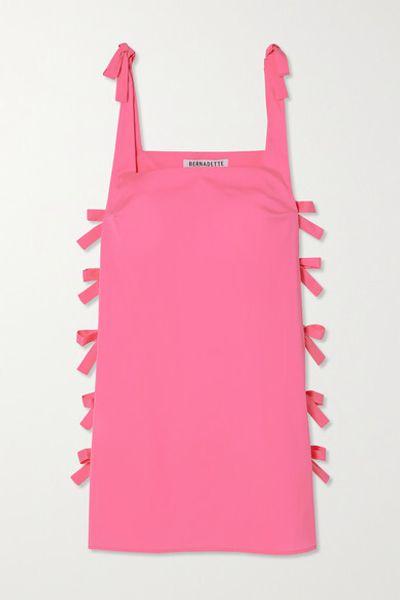 Lisa Bow-embellished Taffeta Mini Dress - Pink