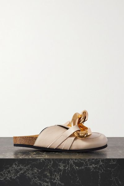 Chain-embellished Leather Slippers - Off-white