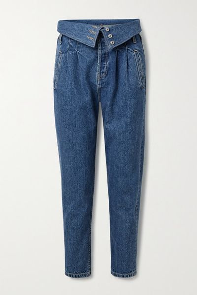 80s Fold-over High-rise Tapered Jeans - Mid denim