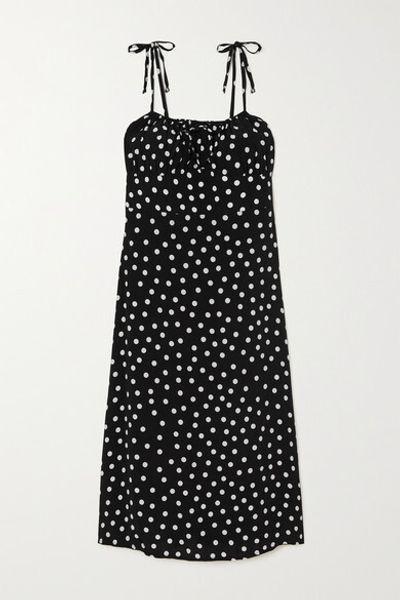 + Net Sustain Raven Shirred Polka-dot Crepe Midi Dress - Black