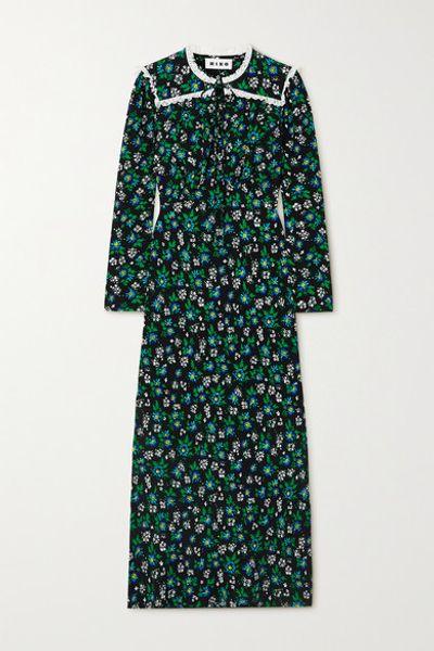 Ada Lace-trimmed Floral-print Crepe Midi Dress - Black