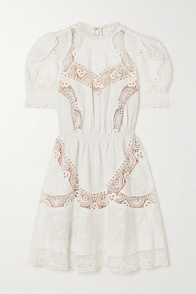 Crochet-trimmed Embroidered Hemp Mini Dress - White
