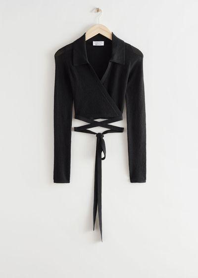 Cropped Criss Cross Tie Cardigan