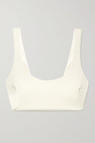 + Net Sustain Lira Recycled Stretch-jacquard Bikini Top - Cream