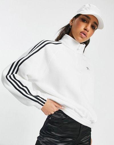 adicolor three stripe quarter zip fleece sweatshirt in white