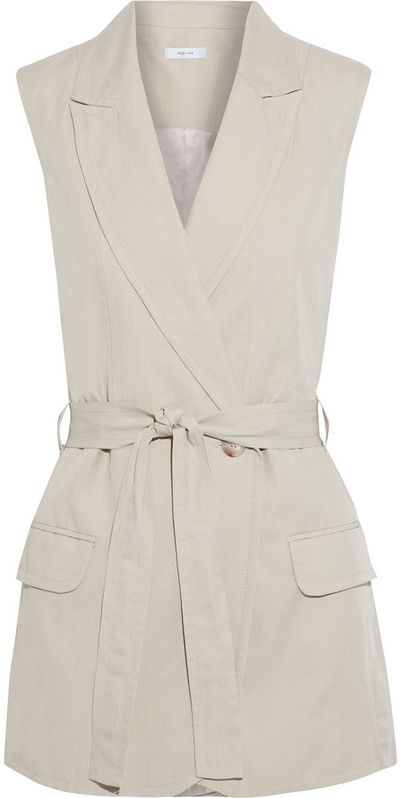 Ebrill Belted Tencel, Linen And Cotton-blend Twill Vest