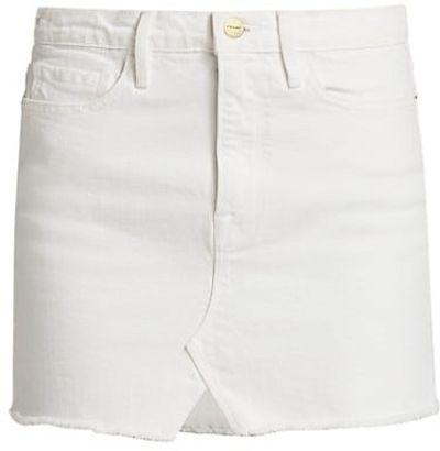 Le Mini Distressed Denim Skirt