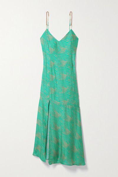 Erin Embellished Striped Woven Midi Dress - Teal