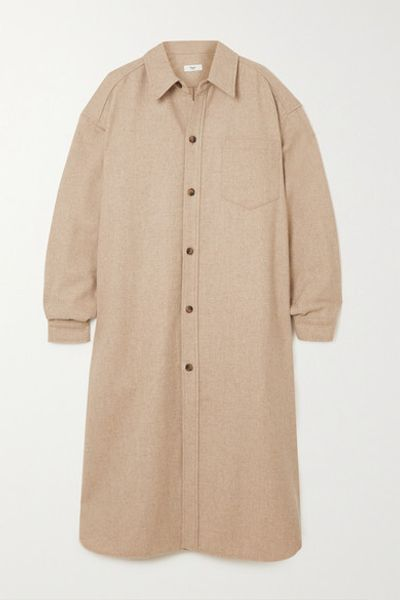 Melange Wool-blend Felt Midi Shirt Dress - Beige