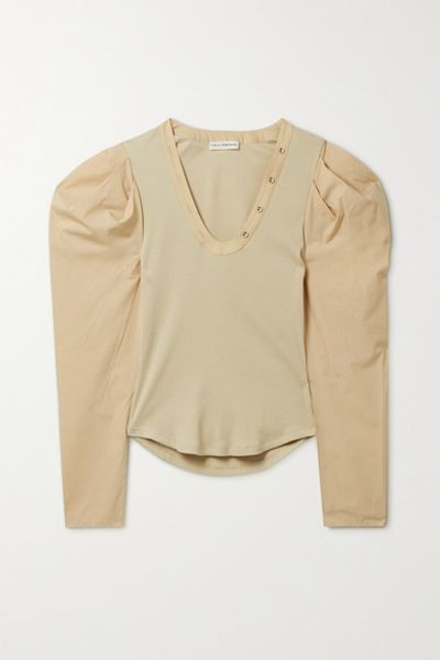Flynn Paneled Ribbed-knit And Cotton-poplin Top - Taupe