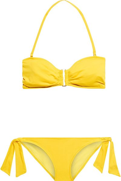 Dahlia Embellished Ruched Bandeau Bikini