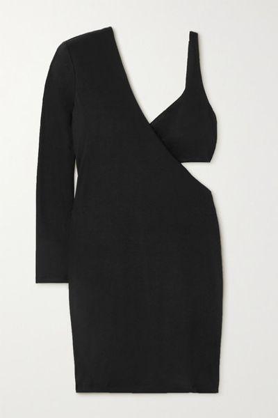 Frances One-sleeve Cutout Stretch-jersey Mini Dress - Black