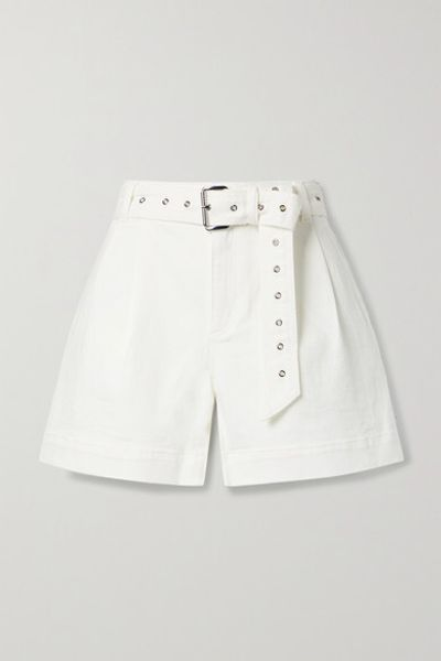 Belted Pleated Denim Shorts - White