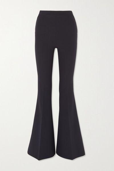 Halluana Stretch-crepe Flared Pants - Navy