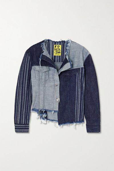 + Net Sustain Rem'ade Cropped Asymmetric Patchwork Denim Jacket - Mid denim