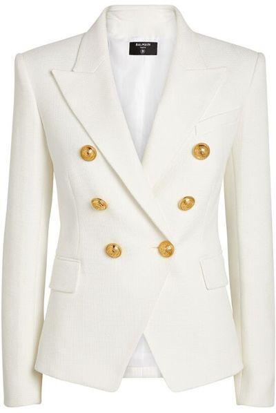 Cotton Pique Double-Breasted Blazer