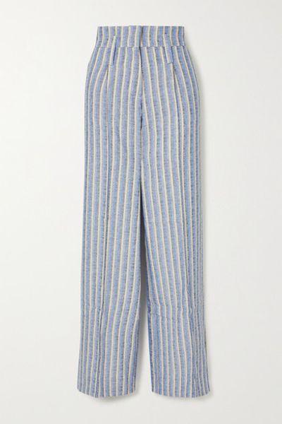 Maria Striped Jacquard Wide-leg Pants - Blue