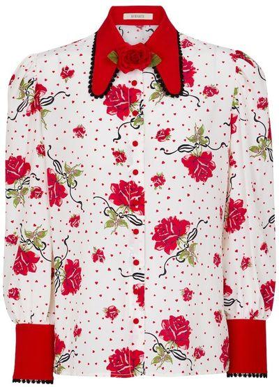 Floral silk crepe blouse